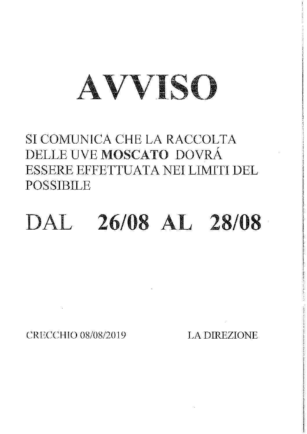 AVVISO RACCOLTA UVE