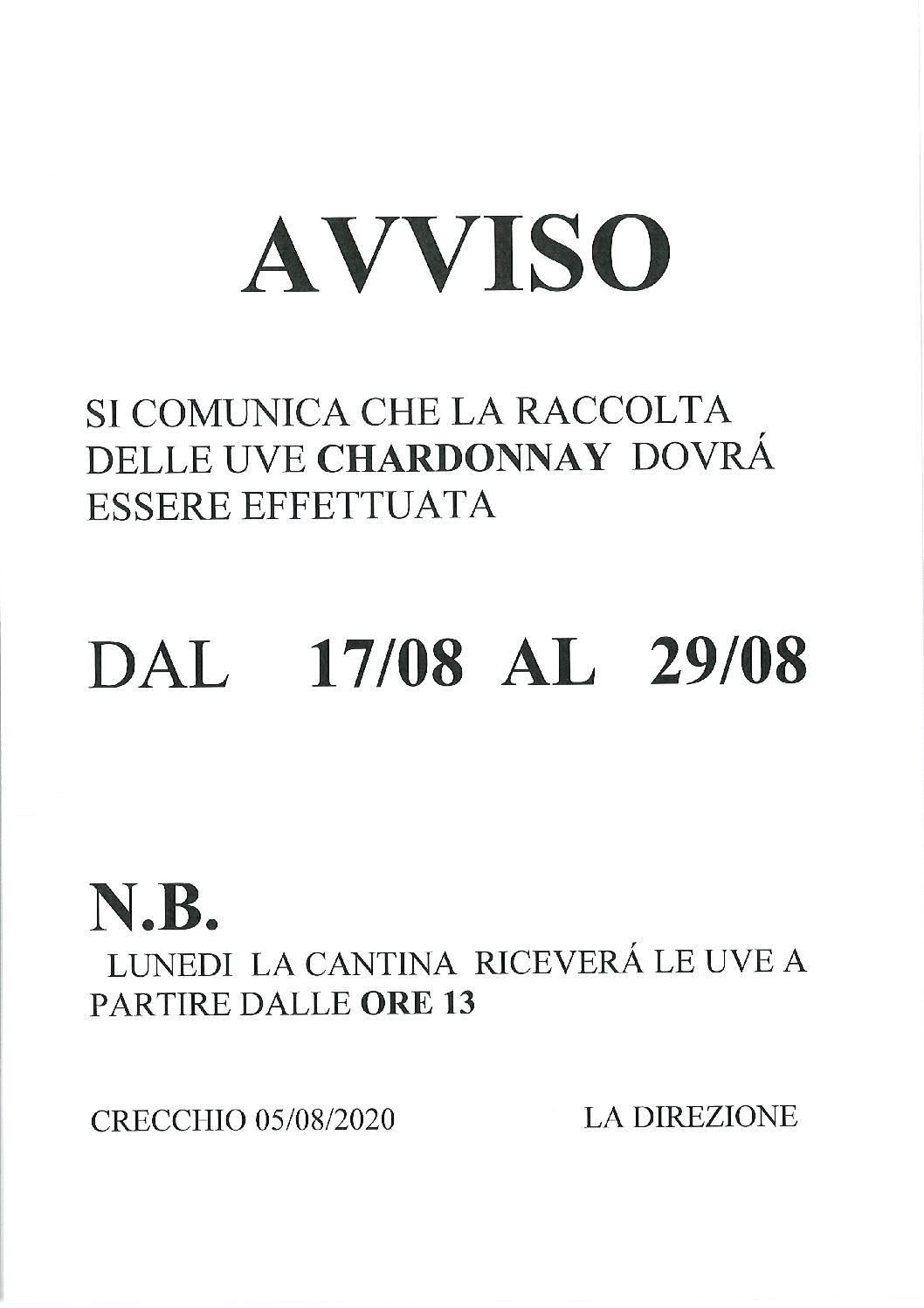 AVVISO RACCOLTA CHARDONNAY