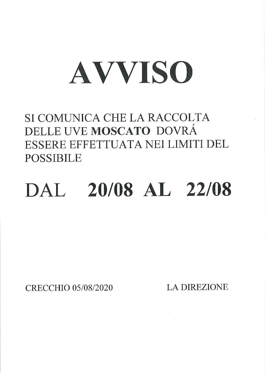 AVVISO RACCOLTA MOSCATO